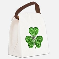 Glitter Shamrock With A Flower Canvas Lunch Bag