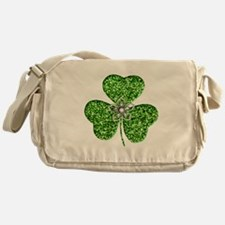 Glitter Shamrock With A Flower Messenger Bag