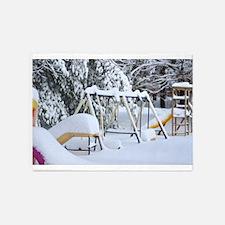 Children`s playground in winter 5'x7'Area Rug