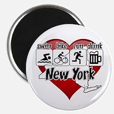 New York Swim Bike Run Drink Magnet