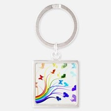 Butterflies Square Keychain