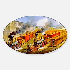 Railroad Train Scene Sticker (Oval)