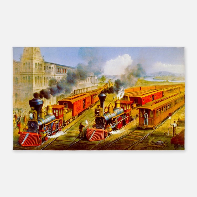 Railroad Train Scene 3'x5' Area Rug