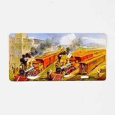 Railroad Train Scene Aluminum License Plate