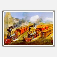Railroad Train Scene Banner