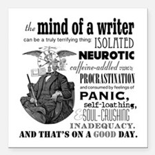 """The Mind Of A Writer Square Car Magnet 3"""" X 3"""""""