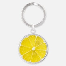 Yellow Lemon Slice Round Keychain