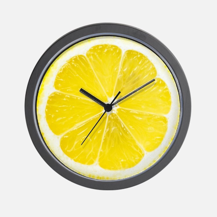 Yellow Lemon Slice Wall Clock