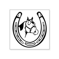 "Vintage Lucky Horseshoe   Square Sticker 3"" x 3"""
