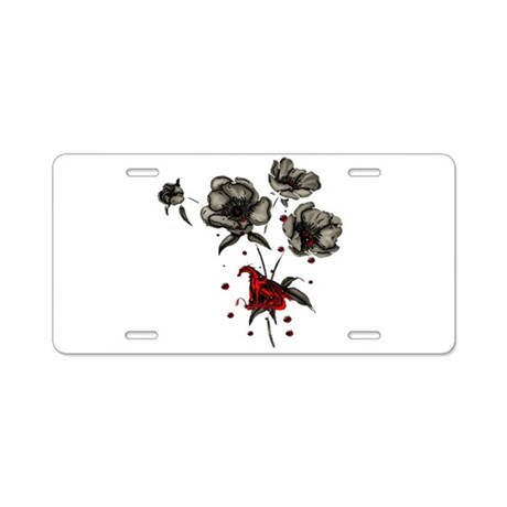 Dragonblood and Flowers Aluminum License Plate