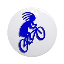 Blue Biker Ornament (Round)