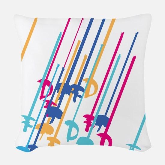 Sword salute in colour Woven Throw Pillow