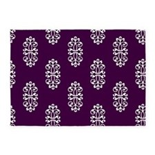 Purple And White Damask 5'X7'Area 5'X7'Area Rug