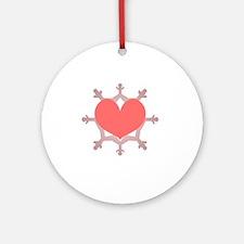 Heart Flake Pink IX Round Ornament