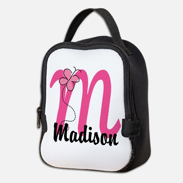 Personalized Monogram Letter M Neoprene Lunch Bag