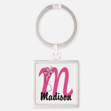 Personalized Monogram Letter M Square Keychain