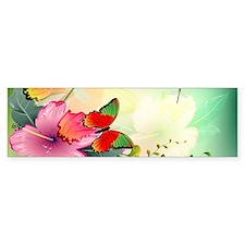 Flowers with butterflies Bumper Bumper Sticker
