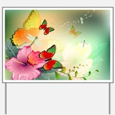Flowers with butterflies Yard Sign