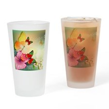 Flowers with butterflies Drinking Glass