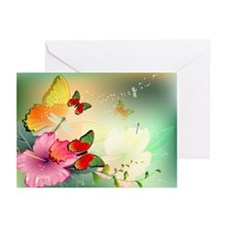 Flowers With Butterfly Greeting Cards (Pk Of 10)