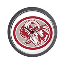Ram Goat Head Side Circle Retro Wall Clock