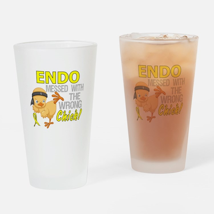 Messed With Wrong Chick 3 Endometri Drinking Glass