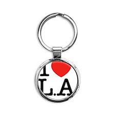 I Love L.A Round Keychain