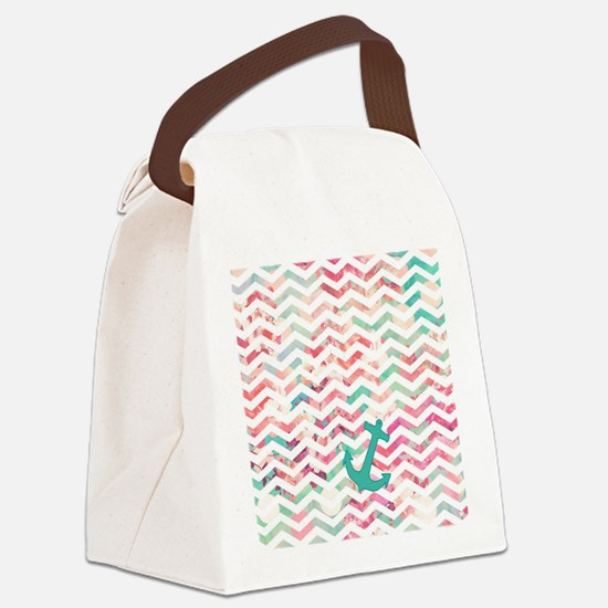 Turquoise Anchor Chevron Pink Chi Canvas Lunch Bag