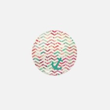Turquoise Anchor Chevron Pink Chic Flo Mini Button
