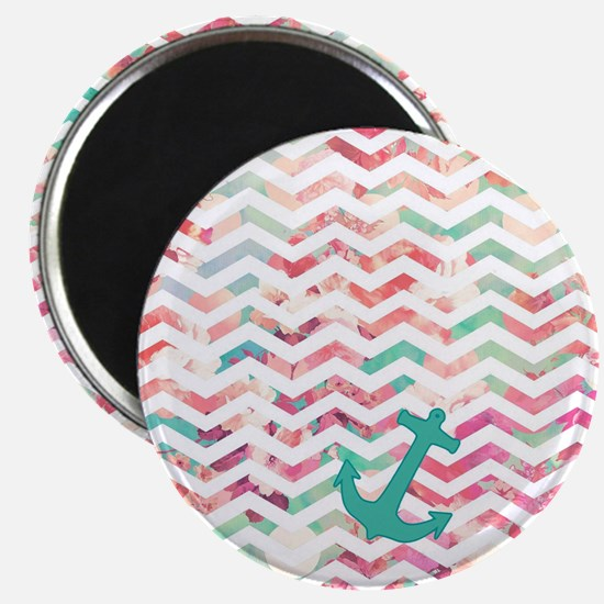 Turquoise Anchor Chevron Pink Chic Floral P Magnet