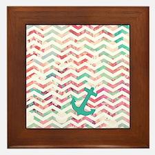 Turquoise Anchor Chevron Pink Chic Flo Framed Tile