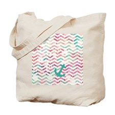 Turquoise Anchor Chevron Pink Chic Floral Tote Bag