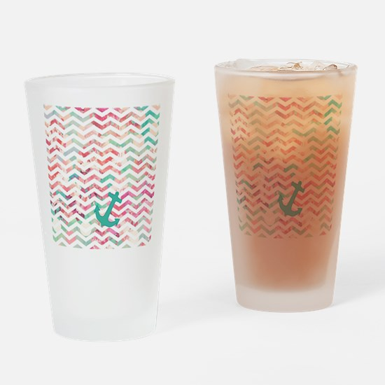 Turquoise Anchor Chevron Pink Chic  Drinking Glass