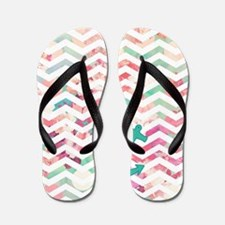 Turquoise Anchor Chevron Pink Chic Flor Flip Flops