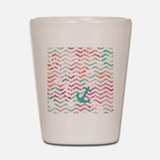 Turquoise Anchor Chevron Pink Chic Flor Shot Glass