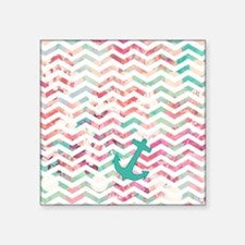 "Turquoise Anchor Chevron Pi Square Sticker 3"" x 3"""