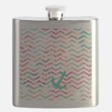 Turquoise Anchor Chevron Pink Chic Floral Pa Flask