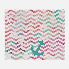 Turquoise Anchor Chevron Pink Chic F Throw Blanket