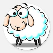 Funny Fluffy Sheep  Round Car Magnet