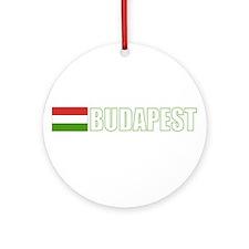 Budapest, Hungary Flag (Dark) Ornament (Round)
