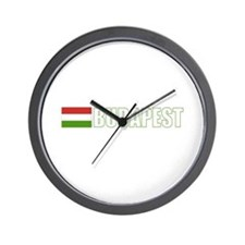 Budapest, Hungary Flag (Dark) Wall Clock