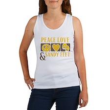 Peace, Love and Sandy Feet Women's Tank Top