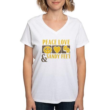 Peace, Love and Sandy Feet Women's V-Neck T-Shirt