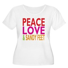 Peace, Love Sandy Feet Plus Size T-Shirt