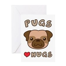 Cute Pugs Love Hugs, For dog lovers Greeting Cards