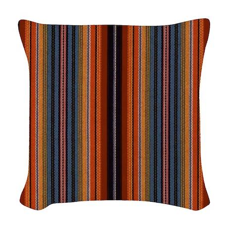 Woven Blue Throw Pillow : Rusty Blue Stripe Woven Throw Pillow by stripstrapstripes