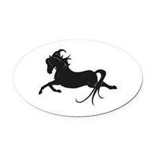 Black Leaping Pony Oval Car Magnet