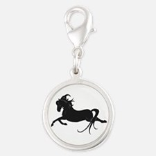 Black Leaping Pony Silver Round Charm