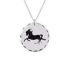 Black Leaping Pony Necklace