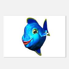 Cute Blue Fish Cartoon Postcards (Package of 8)
